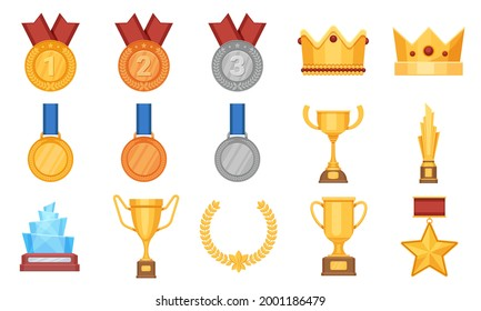 Trophies and medals. Award prize flat icon, olympic gold, silver and bronze medal with ribbon. Winner cup, glass reward and crown vector set. Prize award, success cup and medal, winner of reward