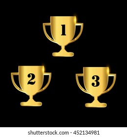 Trophy award First, second and third winner icon sets, golden colored Vector illustration