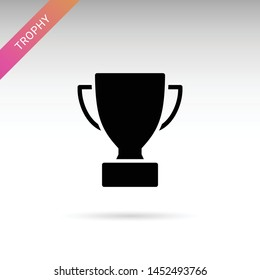 Trophy award isolated flat vector icon. First place prize glyph solid symbol.