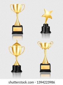 Trophy award realistic set on transparent background with isolated images of golden cups of different shape vector illustration
