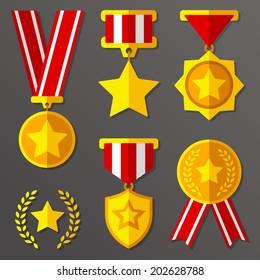 Trophy, awards, flat medals set with stars icon
