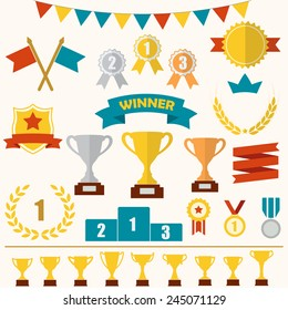 Trophy and awards icon set: laurel wreath, winning trophy cup, crown, medals, pedestal, flags, ribbons. Colorful vector illustration.