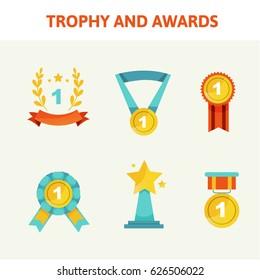Trophy and awards icons set. Flat design. Awards icons