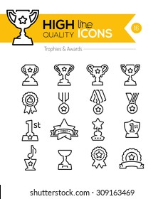 Trophy and Awards Line Icons