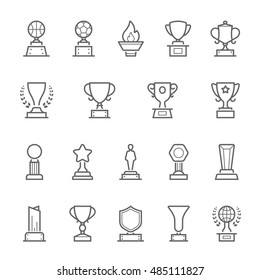 Trophy Awards vector outline stroke icons set