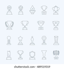 Trophy Awards vector thin outline stroke icons set