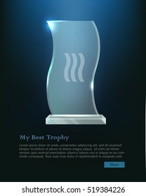 Trophy. Beautiful realistic crystal award with in wave shape on bright dark blue background. Plate basement. Three little waves in the center. Shiny. Glossy. Flat design. Vector illustration