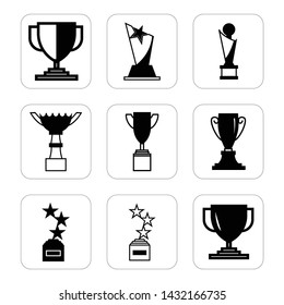 Trophy black icon set. Winner black sign - simple and trendy flat style isolated on white background.- vector