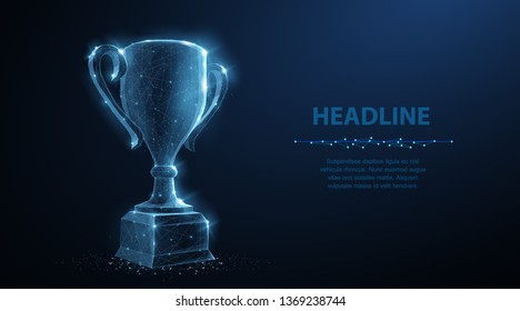 Trophy cup. Abstract vector 3d trophy isolated on blue background. Champions award, sport victory, winner prize concept. Competition success, first place, best win, celebration ceremony symbol.