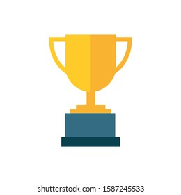 Trophy cup, award, vector icon in flat style on white background