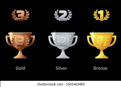 Trophy cup, award, vector icons. Collection gold, silver and bronze Trophy cup award for winners. Vector isolated elements for logo, label, game an app design.