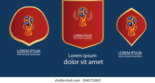 Trophy, cup, blue and red, gold frames,  vector