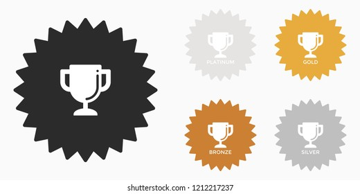 Trophy Cup, Class, Rank or Level Badge Bronze Silver Gold Platinum Vector