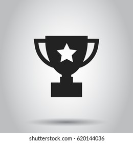 Trophy cup flat vector icon. Simple winner symbol. Black illustration on gray background.