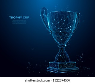 Trophy cup form lines and triangles, point connecting network on blue background. champion's cup. Polygon vector wireframe concept, mesh art