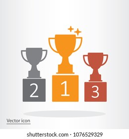 trophy cup, goblet on podium, pedestal icon vector