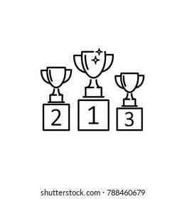 trophy cup, goblet on podium, pedestal, line sign, icon vector