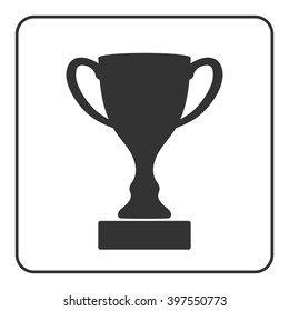 Trophy cup icon. Award sport trophy. Symbol of winner, competition, reward and champion best, prize. Victory emblem. Gray sign in frame on white background. Isolated design element Vector illustration