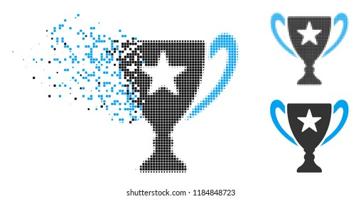 Trophy cup icon in dissolved, dotted halftone and undamaged versions. Fragments are grouped into vector disappearing trophy cup icon. Disappearing effect uses square scintillas.