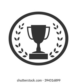 Trophy cup with Laurel wreath icon. Award sport sign. Symbol of winner, competition, champion best, victory emblem. Gray sign in frame on white background. Isolated design element. Vector illustration