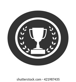 Trophy cup with Laurel wreath icon. Award sport sign. Symbol of winner, competition, champion best, victory emblem. White sign in frame on gray background. Isolated design element. Vector illustration