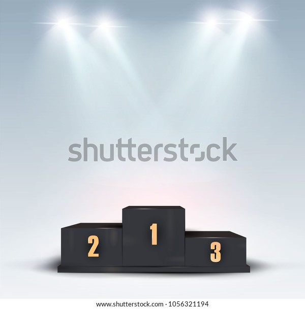 Trophy Cup On Prize Podium First Stock Vector Royalty Free