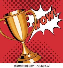 Trophy cup pop art cartoon