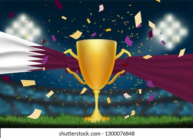 Trophy cup with Qatar flag on field in soccer stadium to celebrate for football match at night time with spot light and confetti.This design for template, banner for QTA team in vector illustration