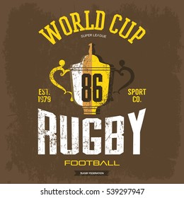 Trophy or cup as rugby or american football symbol. Sportswear t-shirt or cloth with goblet print design, branding banner. Super league or world cup advertising or ads, man sport clothing