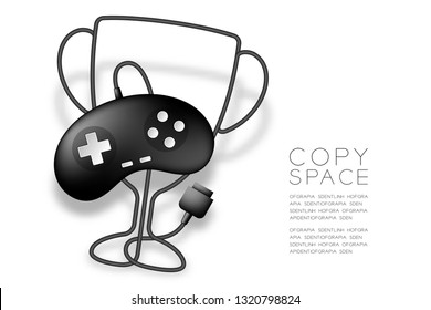 Trophy Cup shape made from cable Retro Gamepad or joypad black color, Game winner concept design illustration isolated on white background, with copy space, vector eps 10