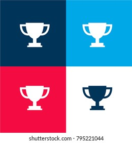 Trophy Cup Silhouette Four Color Material And Minimal Icon Logo Set In Red Blue