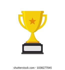 Trophy cup star with handles and blank nameplate isolated on white background flat icon design. Gold champion cup. Award sign vector and illustration.