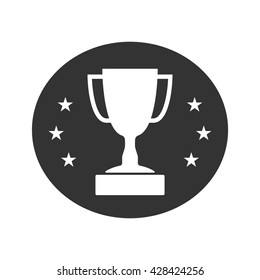 Trophy cup with stars icon. Award sport sign. Symbol of winner, competition, champion best, victory emblem. White sign in frame on gray background. Isolated flat design element. Vector illustration.
