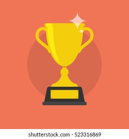 Trophy Cup Vector Flat Icon on soft red background