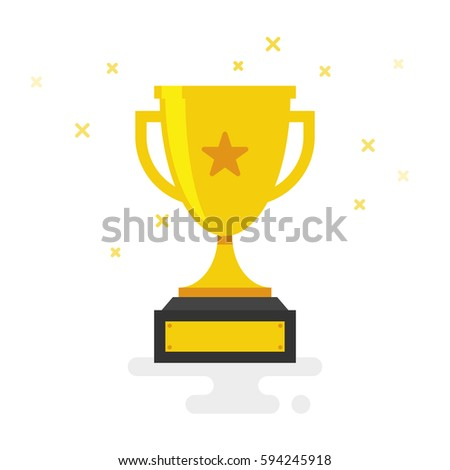 Trophy Cup Vector Flat Icon with star isolated on white background