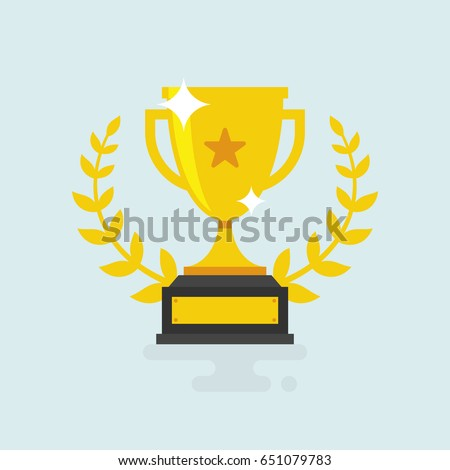 Trophy Cup Vector Flat Icon with star and laurel wreath