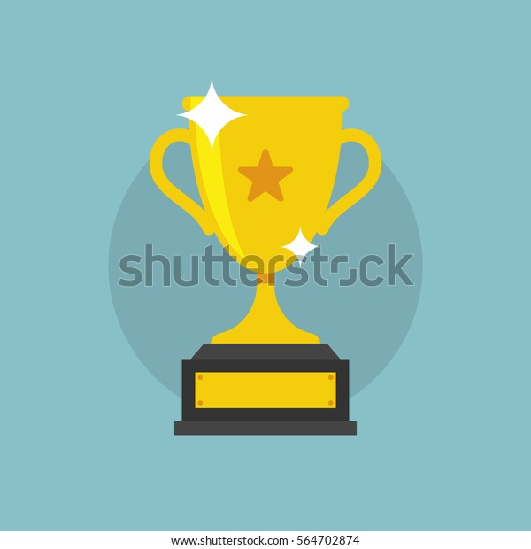 Trophy Cup Vector Flat Icon with star