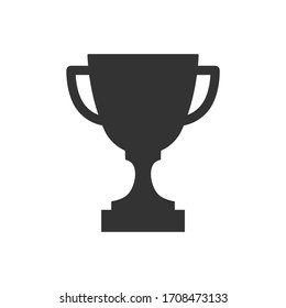 Trophy cup vector icon isolated on white background. Simple winner symbol.