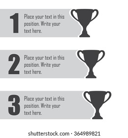 Trophy Cups Infographics Template. First Place Award. Sport Design Elements  With Space For Text