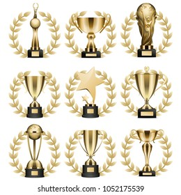 Trophy cups and statuettes icons set. Glossy golden goblets and figures with laurel wreath on stand with nameplate realistic isolated vector. Sports prize or business awards illustration collection