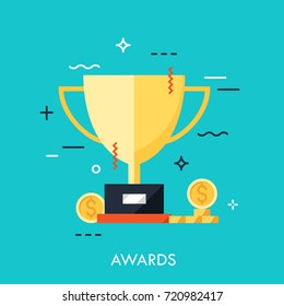 Trophy for first place winner icon flat for web and mobile, modern minimalistic flat design. Modern style logo vector illustration concept.