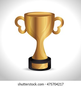 trophy gold award d icon vector illustration design