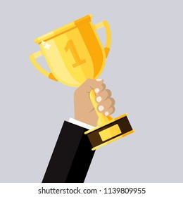 The trophy is in the hands of a man. Winner. Vector illustration. Flat design for business financial marketing banking advertising web concept cartoon illustration.
