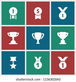 Trophy icon. collection of 9 trophy filled icons such as medal, number 1 medal, medal with star. editable trophy icons for web and mobile.