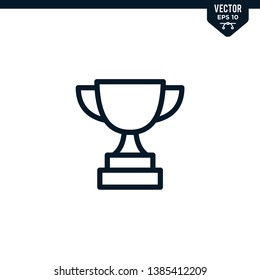 Trophy icon collection in outlined or line art style, editable stroke vector