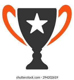 Trophy icon from Competition & Success Bicolor Icon Set. Vector style: flat bicolor symbols, orange and gray colors, rounded angles, white background.