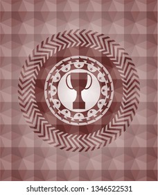 trophy icon inside red seamless polygonal badge.