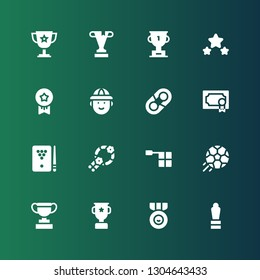 trophy icon set. Collection of 16 filled trophy icons included Award, Medal, Trophy, Football, Offside, Wreath, Billiard, Hugh, Hunter, Medals