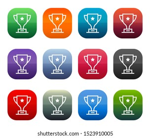 Trophy icon shiny square buttons set illustration design isolated on white background