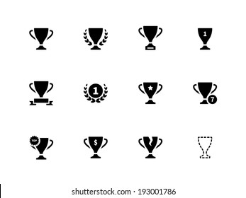 Trophy icons on white background. Vector illustration.